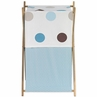 Baby and Kids Clothes Laundry Hamper for Blue and Brown Mod Dots Bedding