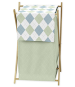 Baby and Kids Clothes Laundry Hamper for Blue and Green Argyle Bedding Sets