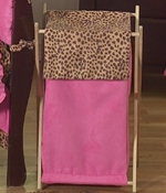 Baby and Kids Clothes Laundry Hamper for Cheetah Girl Pink and Brown Bedding Sets