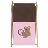 Baby and Kids Clothes Laundry Hamper for Pink and Chocolate Teddy Bear Bedding