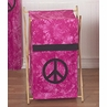 Baby and Kids Clothes Laundry Hamper for Pink Groovy Peace Sign Tie Dye Bedding