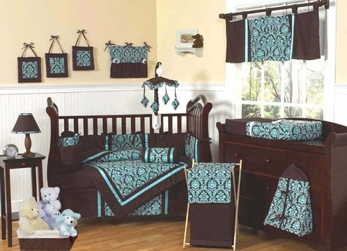 Turquoise and Brown Bella Baby Bedding - 9 pc Crib Set - Click to enlarge