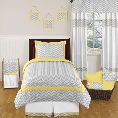 Yellow and Gray Chevron Zig Zag Childrens and Kids Bedding - 4pc Twin Set by Sweet Jojo Designs - Click to enlarge