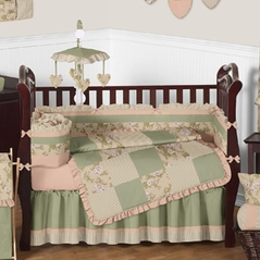 Baby Annabel Sage Antique Floral Baby Bedding - 9 pc Crib Set