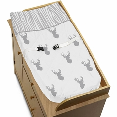 Baby Changing Pad Cover for Grey and White Woodland Deer Collection by Sweet Jojo Designs