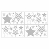 Baby, Childrens and Kids Wall Decal Stickers for Turquoise and Gray Zig Zag Bedding by Sweet Jojo Designs - Set of 4 Sheets
