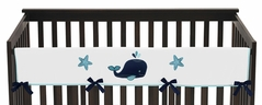 Baby Crib Long Rail Guard Cover for Blue Whale Collection by Sweet Jojo Designs