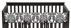 Baby Crib Long Rail Guard Cover for Hot Pink, Black and White Isabella Collection by Sweet Jojo Designs