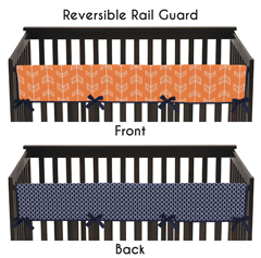 Baby Crib Long Rail Guard Cover for Orange and Navy Arrow by Sweet Jojo Designs