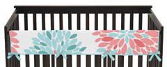 Baby Crib Long Rail Guard Cover for Turquoise and Coral Emma by Sweet Jojo Designs