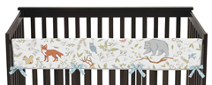 Baby Crib Long Rail Guard Cover for Woodland Animal Toile Collection by Sweet Jojo Designs