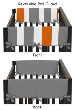 Baby Crib Side Rail Guard Covers for Gray and Orange Stripe Collection by Sweet Jojo Designs - Set of 2