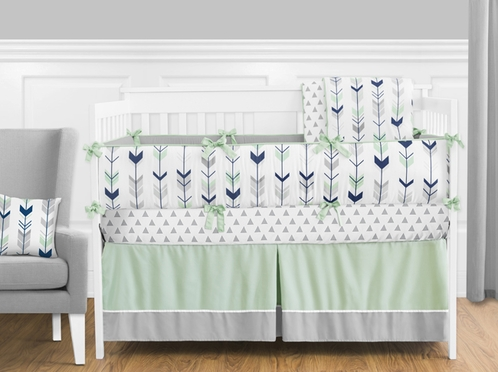 Grey Navy Blue And Mint Woodland Arrow Baby Bedding 9pc Crib Set By Sweet