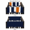 Baby Crib Side Rail Guard Covers for Navy Blue and Orange Stripe Collection by Sweet Jojo Designs - Set of 2