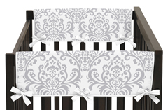 Baby Crib Side Rail Guard Covers for Pink and Gray Elizabeth Collection by Sweet Jojo Designs - Set of 2
