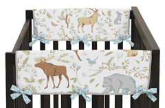 Baby Crib Side Rail Guard Covers for Woodland Animal Toile Collection by Sweet Jojo Designs - Set of 2
