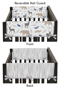 Baby Crib Side Rail Guard Covers for Woodland Animals by Sweet Jojo Designs - Set of 2