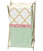 Baby/Kids Clothes Laundry Hamper for Gold, Mint, Coral and White Ava Bedding
