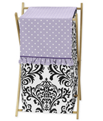 Baby/Kids Clothes Laundry Hamper for Lavender, Purple, Black and White Sloane Bedding