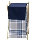 Baby/Kids Clothes Laundry Hamper for Navy Blue and Grey Plaid Boys Bedding
