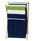 Baby/Kids Clothes Laundry Hamper for Navy Blue and Lime Green Stripe Bedding