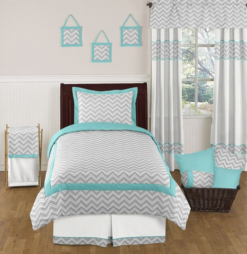 Turquoise and gray chevron bedding images pictures becuo - Turquoise and gray bedroom ...