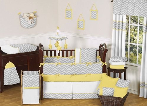 Gray and Yellow Chevron Zig Zag Baby Bedding - 9pc Crib Set by Sweet Jojo Designs - Click to enlarge