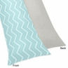 Balloon Buddies Blue Chevron and Gray Full Length Double Zippered Body Pillow Case Cover