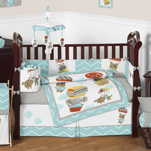 Balloon Buddies Chevron Baby Bedding - 9pc Crib Set by Sw...