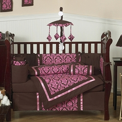 Bella Brown and Pink Baby Bedding - 9 pc Crib Set