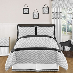 Black and Gray Chevron Zig Zag Childrens, Kids, Teen Bedding - 3pc Full / Queen Set by Sweet Jojo Designs