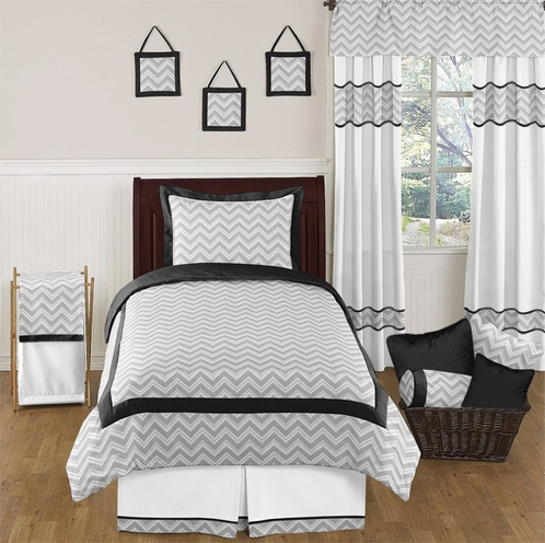 Black and Gray Chevron Zig Zag Childrens and Kids Bedding - 4pc Twin Set by Sweet Jojo Designs - Click to enlarge