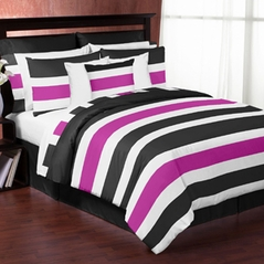 Black and Pink Stripe - 4 pc Twin Set by Sweet Jojo Designs