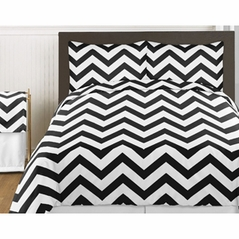 Black and White Chevron 4pc Childrens and Kids Zig Zag Twin Bedding Set Collection
