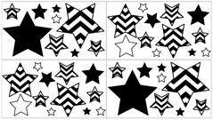Black and White Chevron Baby, Childrens and Kids Wall Decal Stickers - Set of 4 Sheets
