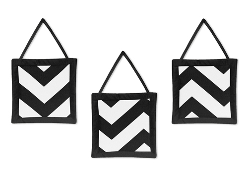 Black and White Chevron Wall Hanging Accessories by Sweet...