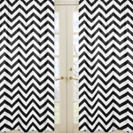 Black and White Chevron Window Treatment Zig Zag Panels - Set of 2