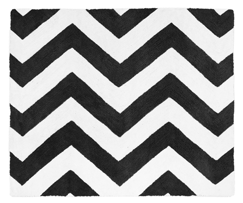 Black and White Chevron Zig Zag Accent Floor Rug by Sweet...