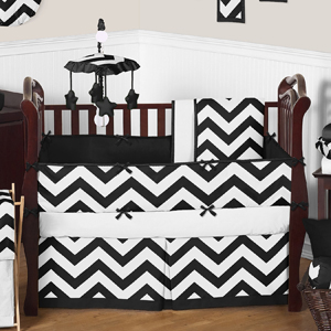 Black and White Chevron ZigZag Baby Bedding - 9pc Crib Se...
