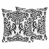 Black and White Damask Sloane Decorative Accent Throw Pillows - Set of 2