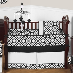 Black and White Diamond Baby Bedding - 9 pc Crib Set by Sweet Jojo Designs