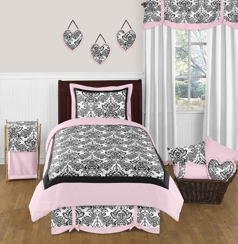 Pink and Black Sophia Childrens Bedding - 4pc Twin Set - Click to enlarge