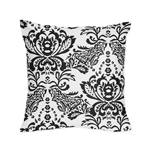 Black and White Floral Damask Decorative Accent Throw Pillow