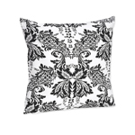 Black and White Floral Damask Throw Pillow