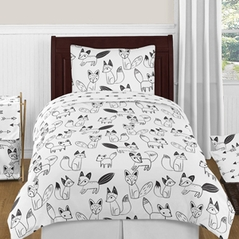 Black and White Fox and Arrow 4pc Twin Boy or Girl Bedding Set by Sweet Jojo Designs