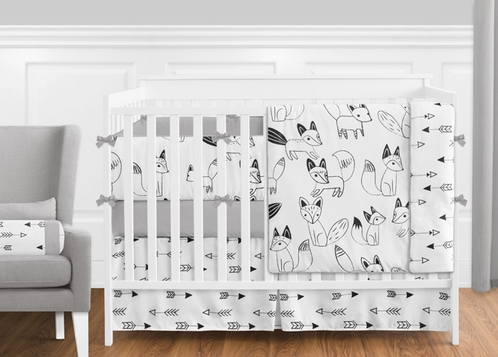 Black and White Fox and Arrow Baby Bedding - 9pc Crib Set by Sweet Jojo Designs - Click to enlarge