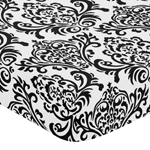 Black and White Isabella Fitted Crib Sheet for Baby/Toddler Bedding Sets - Damask Print