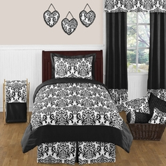 Black and White Isabella Girls Childrens and Teen Bedding - 4 pc Twin Set