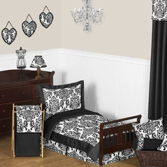 Black and White Isabella Girls Toddler Bedding - 5pc Set