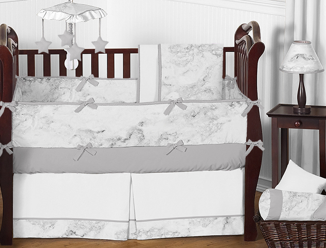 Black and White Marble Baby Bedding - 9pc Crib Set by Sweet Jojo Designs